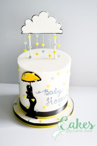 Raining Hearts Cloud Baby Shower Cake Silhouette -1273