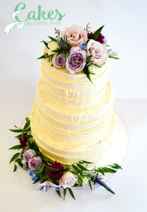 3 tier rustic buttercream and florals cake