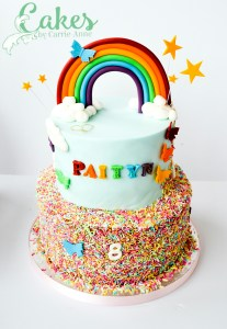 2 tier rainbow sprinkles and butterflies cake