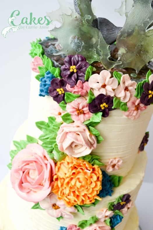 Buttercream flower wedding cake