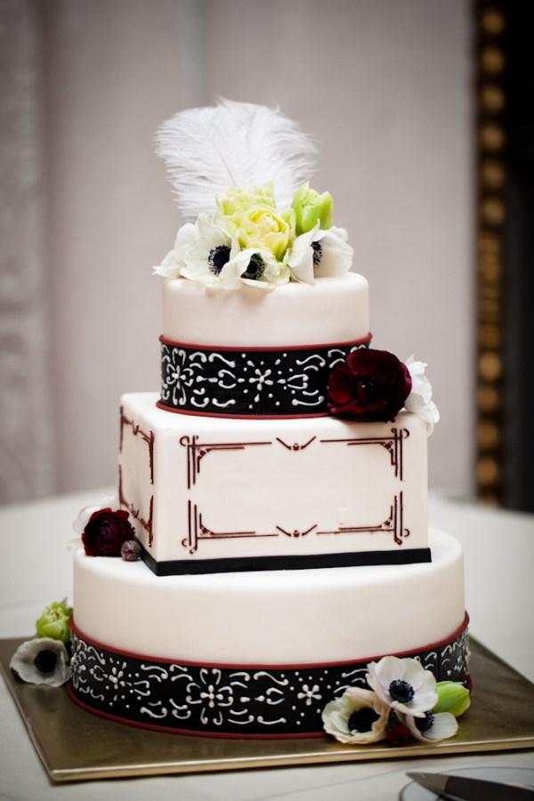 Fondant wedding cakes, art deco wedding cake, square and round cake, red black white ckae, fondant cakes portland, custom cakes wilsonville