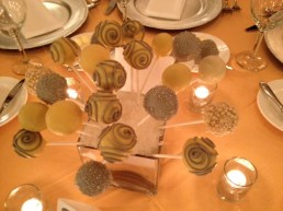 Cake Pop Centerpiece, gray silver, yellow white cake pops, cake pop bouquets, Portland OR