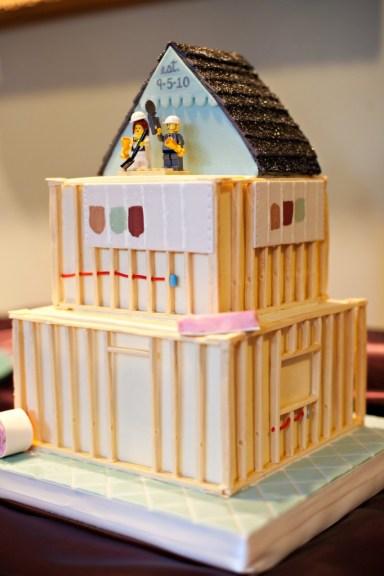 unique grooms cakes, builders cake, house remodel cake, diy cake