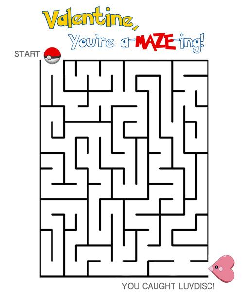 Pokemon Valentine Maze FREE Printable Cake Student