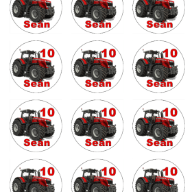 Tractor Cupcakes Toppers Massey