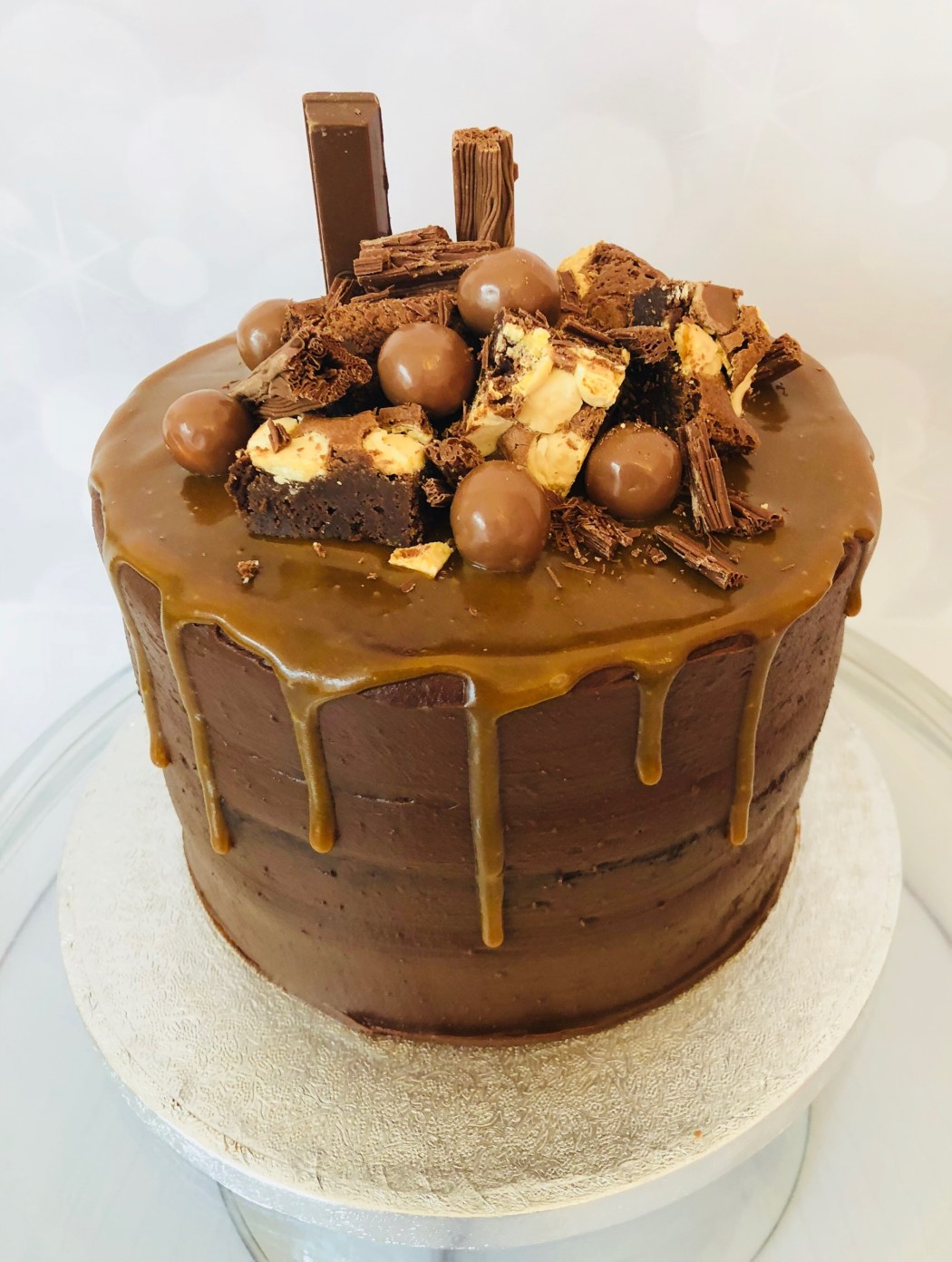 Chocolate, caramel and brownie cake