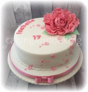 Pink Peony Birthday Cake