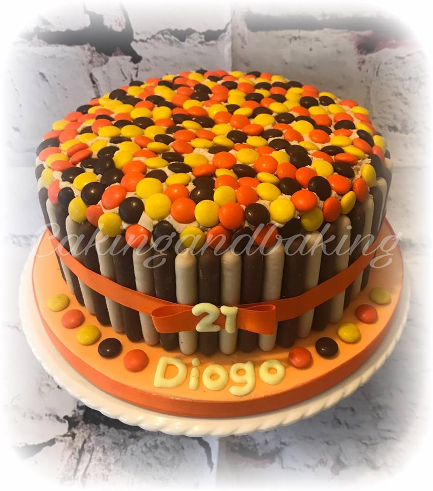 Reeces Pieces Birthday Cake Caking And Baking Sweet As