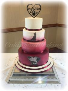 Burgundy Silhouette Wedding Cake