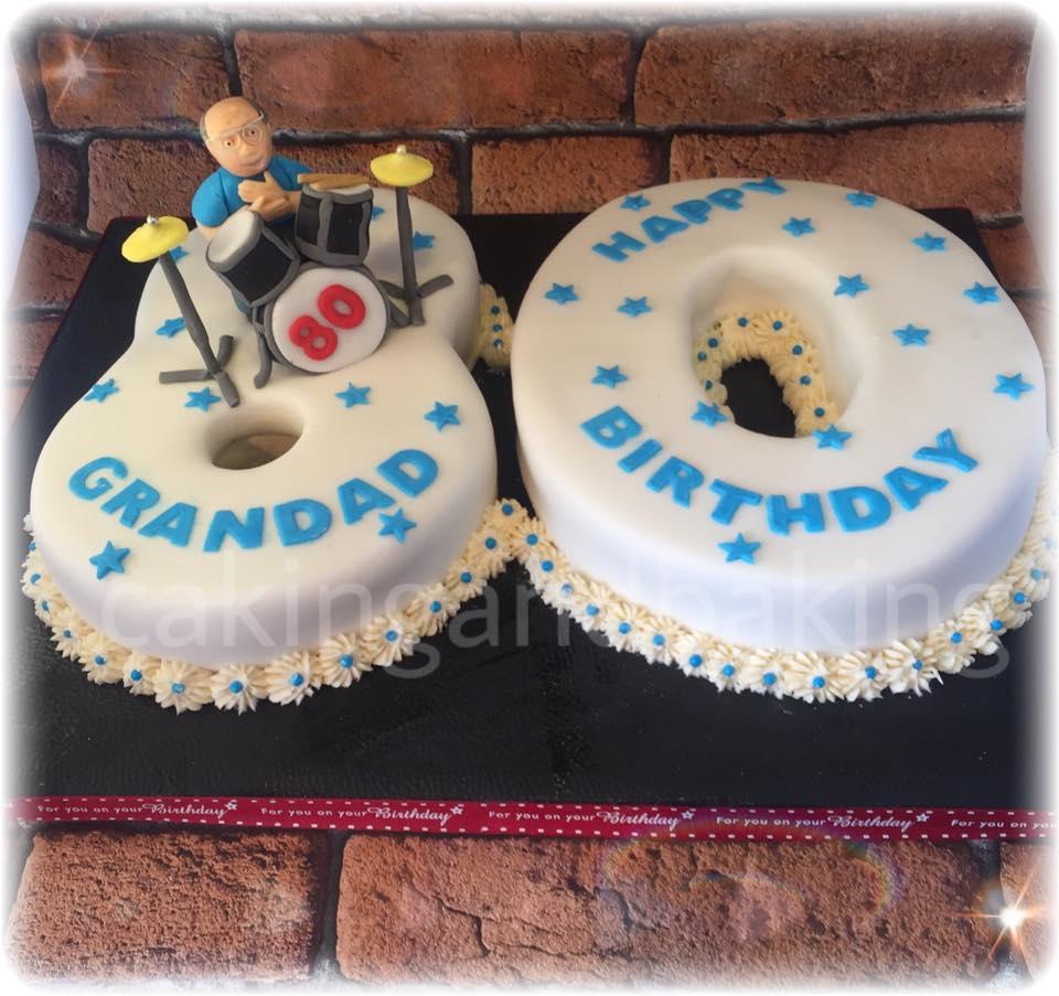 80th Birthday Drum Kit Cake
