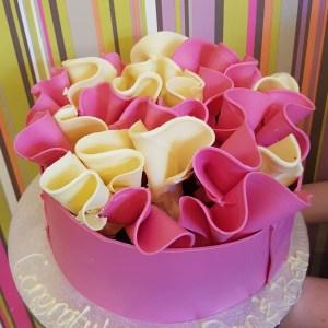Pink and White Chocolate Ruffle Cake