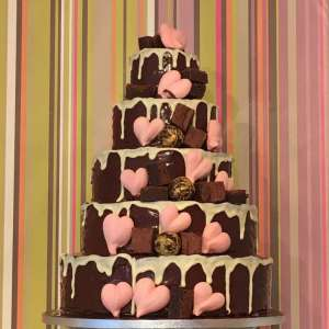 Chocolate heart wedding cake