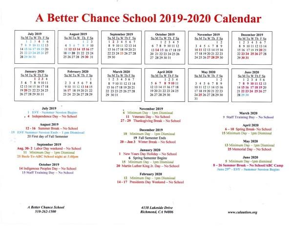 ABC School 2019-2020 calendar