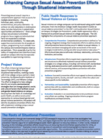 cover of Enhancing Campus Sexual Assault Prevention Efforts Through Situational Interventions with a lot of small word iwth whit background and blue bar at bottom