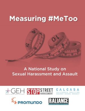 Measuring #MeToo A National Studey on Sexual Harassment and Assault.  Measuirng tape in rust/red background with logos of Cener on Gedner Equity and Health, Stop Street Harassment, CALCASA, RALIANCE, and Promiundo