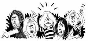 angry five people cartoon