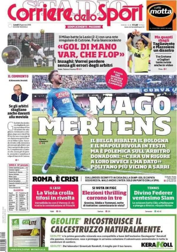 Prima pagina Corriere dello Sport –