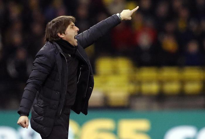 Chelsea's team manager Antonio Conte gestures during the English Premier League soccer match between Watford and Chelsea at Vicarage Road stadium in London, Monday, Feb. 5, 2018.(ANSA/AP Photo/Frank Augstein) [CopyrightNotice: Copyright 2018 The Associated Press. All rights reserved.]