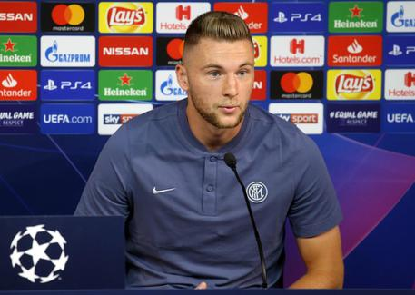 Fc Inter defender Milan Skriniar attends a press conference in Suning training center, at Appiano Gentile North Italy, 17 September 2018. Fc Inter  will face Tottenham on 18 September 2018 for the first match of UEFA Champions League stage B. ANSA / MATTEO BAZZI