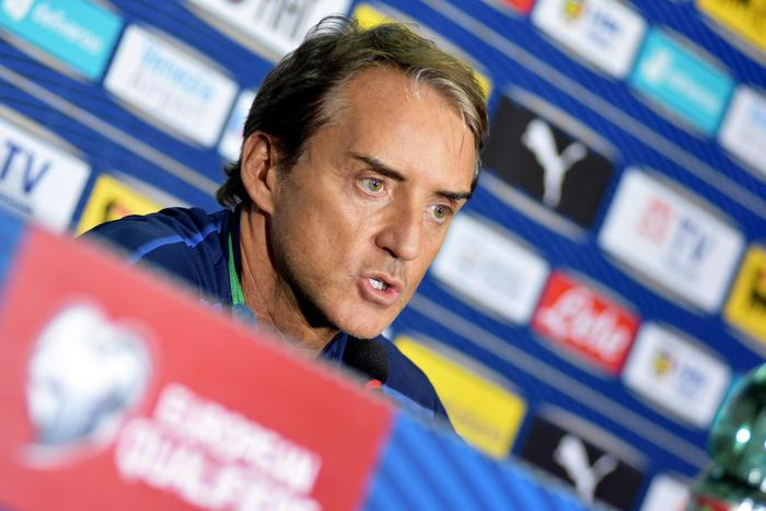 Italy's head coach Roberto Mancini attends a press conference at the Renzo Barbera stadium,  Palermo, 17 November 2019. Italy will face Armenia in the UEFA Euro 2020 qualifying Group J soccer match on 18 November 2019 ANSA/MIKE PALAZZOTTO