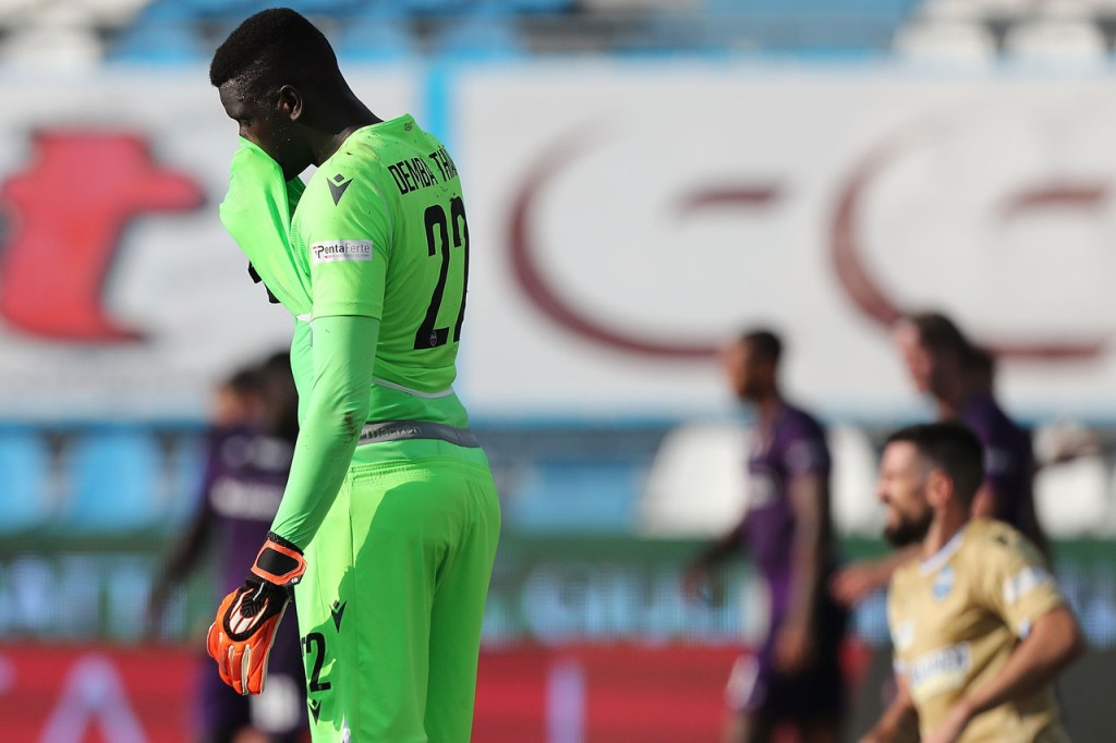 FERRARA, ITALY - AUGUST 02: Demba Thiam of SPAL reacts during the Serie A match between SPAL and  ACF Fiorentina at Stadio Paolo Mazza on August 2, 2020 in Ferrara, Italy.  (Photo by Gabriele Maltinti/Getty Images)