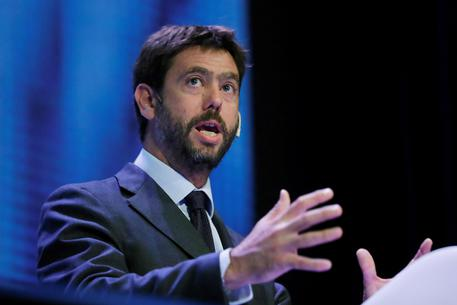President of Juventus Turin, Andrea Agnelli, delivers his speech during the 3rd World Football Summit (WFS) taking place at the Teatro Goya in Madrid, Spain, 24 September 2018. ansa/Juan Carlos Hidalgo