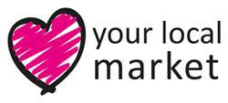 Heart shaped logo for the love your local market campaign