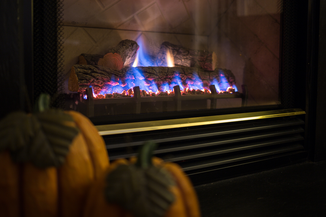 Flames on a gas fireplace