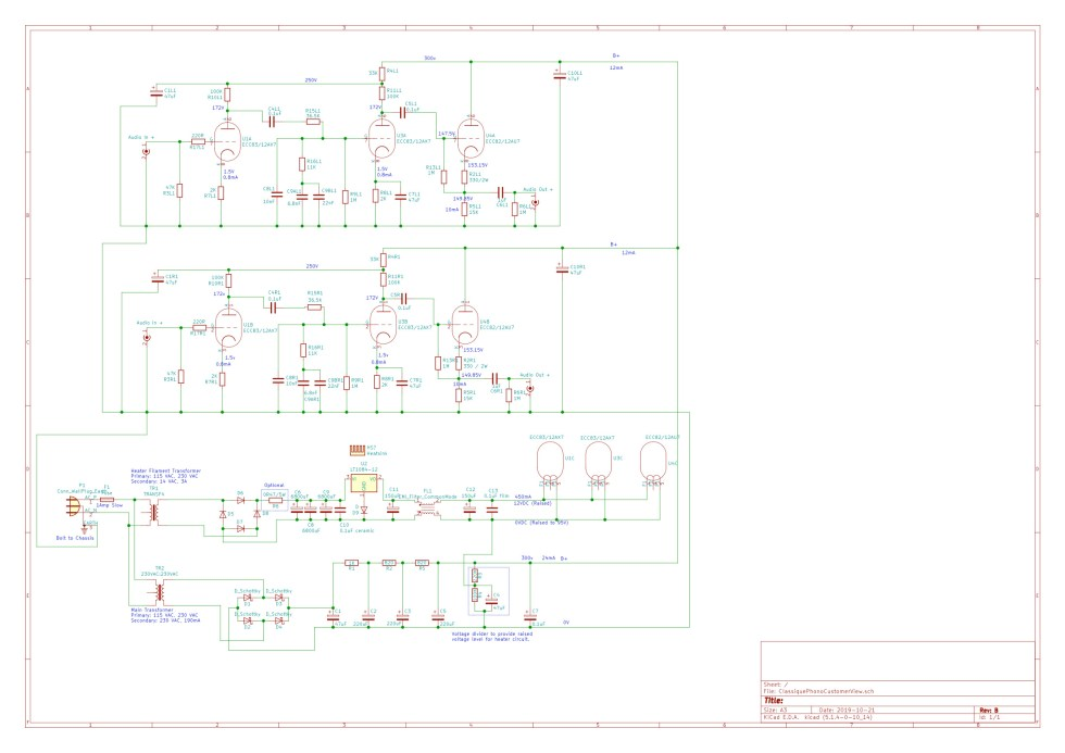 Complete schematic (showing phono amp, main supply and heater supply) - Note the component indexing is different compared to production PCB