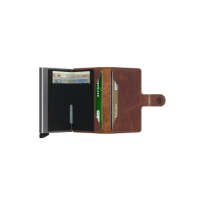 """Secrid portafogli compatto in alluminio e pelle """"Miniwallet Vintage"""" Marrone MV.BROWN"""