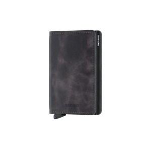 """Secrid portafogli compatto in alluminio e pelle """"Slimwallet Vintage"""" Grigio SV.GREY-BLACK"""