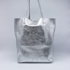 """Caleidos borsa shopping in pelle """"Range 07A"""" Argento 07A-01.Argento"""