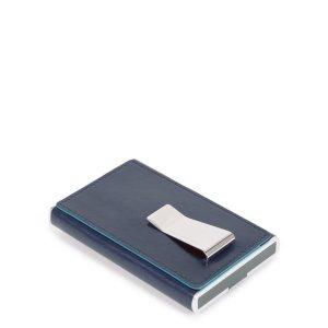 """Piquadro portafogli compatto con fermasoldi in pelle """"Blue Square"""" PP5358B2R.BLU2"""