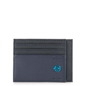 """Piquadro porta carte di credito in tessuto e pelle """"P16"""" Blu PP2762P16.CHEVBLU"""