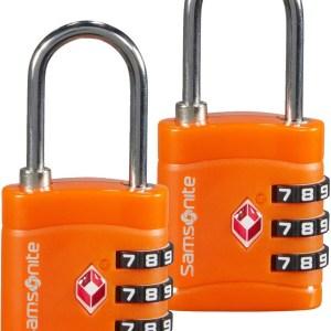 """Samsonite 2 lucchetti in metallo e pvc """"Travel"""" Arancione 121299.96 orange"""