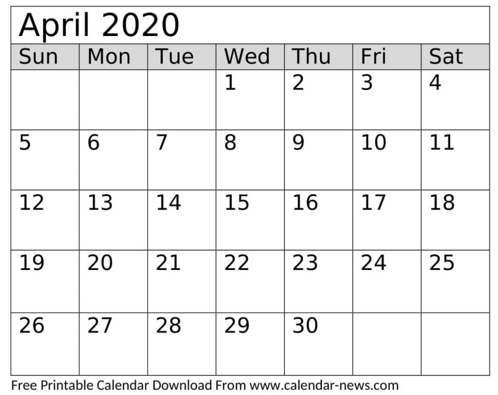 April 2020 Calendar Printable Template