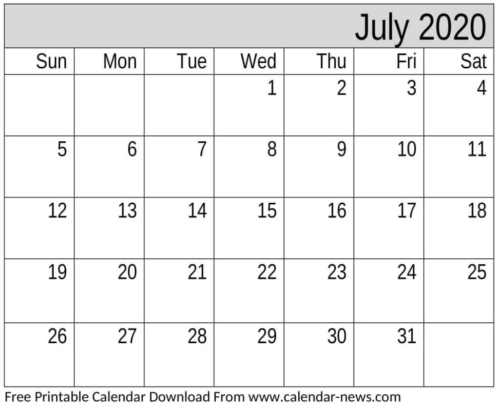 Free Printable July 2020 Calendar Monthly