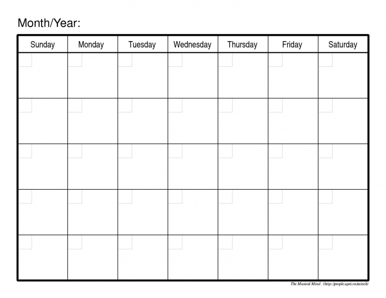 Perfect for posting this month's activities or … Fill In Printable Monthly Calendar :-Free Calendar Template
