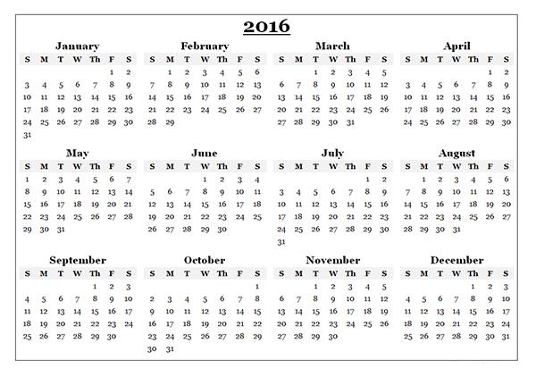 View Calendar: 2016 Yearly Calendar Template 08
