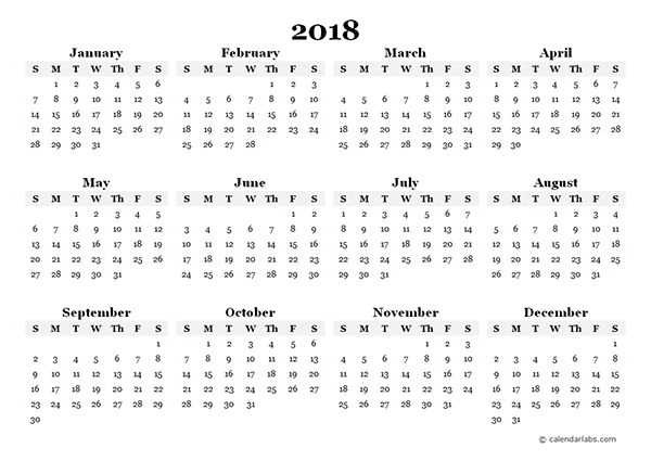 free yearly printable calendars