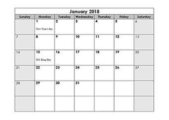 2018 calendar monthly