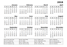 2018 calendar 12 month