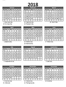 calendar with week numbers 2018
