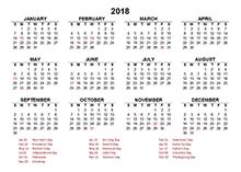 2018 calendar south africa