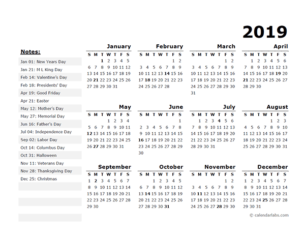 2019 year calendar free download
