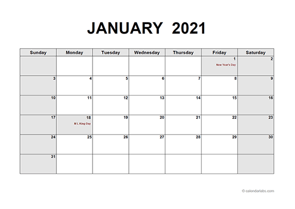 We will continue to make this classic calendar so be sure to come back each month and each year for the. 2021 Monthly Calendar PDF - Free Printable Templates