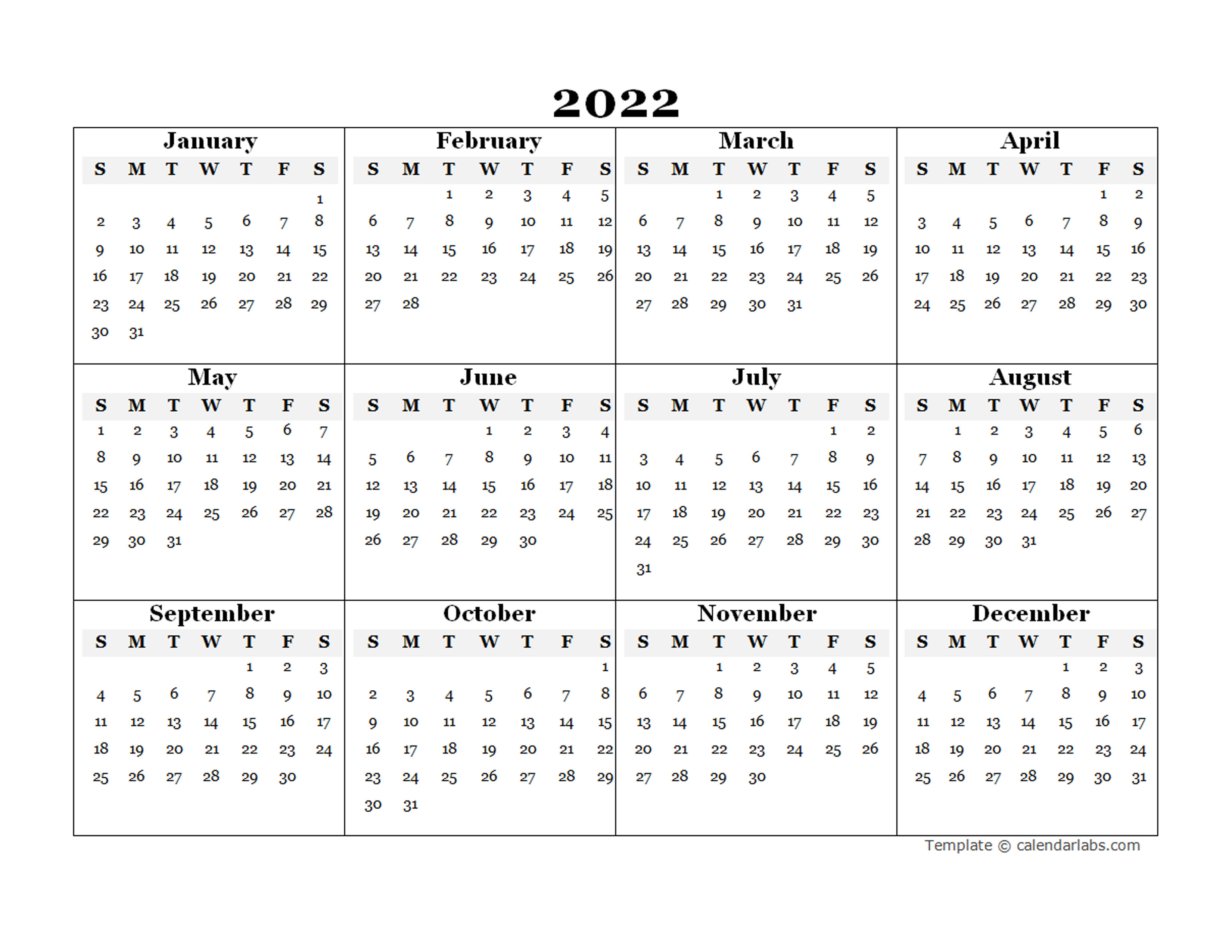 They help you keep track of simple — but critically important — dates, like upcoming birthdays and anniversaries, but if you lead a busy life, their usefulness extends fa. 2022 Blank Yearly Calendar Template - Free Printable Templates