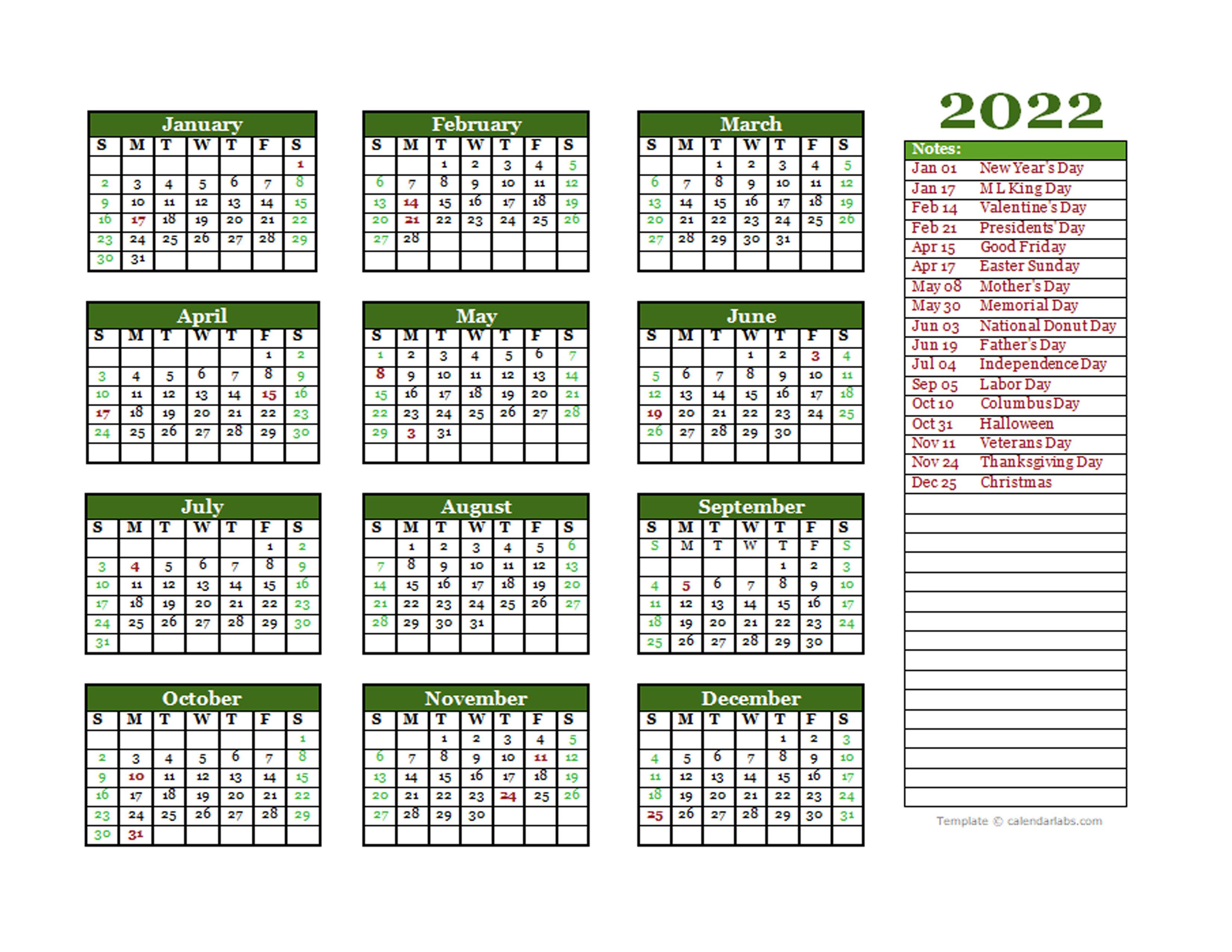 These calendars will easily print on a a4 or letter paper size. Editable 2022 Yearly Calendar Landscape - Free Printable ...