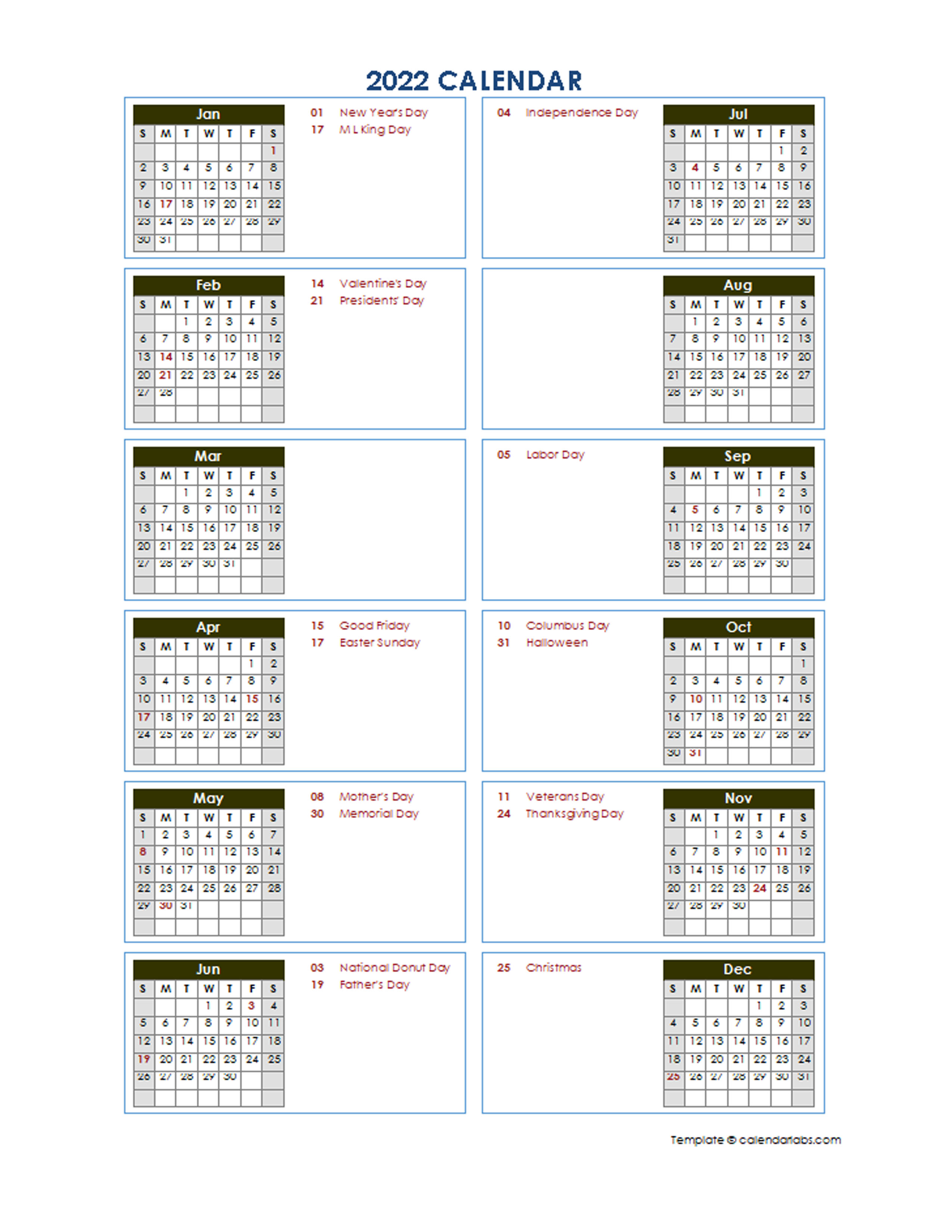 With the proper planning of 2022 you can simplify most of the things in advance. 2022 Yearly Calendar Template Vertical Design - Free ...