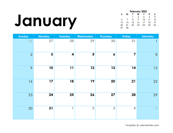 Full and free download of free printable 2022 monthly calendar with holidays, one month in one file with high resolution, so you can print on the wall calendar size (8×11), desk calendar size (5×11) or a4 or a3 paper size.numbers are large, sundays and saturdays are highlighted in turquoise for saturday and red for sunday and federal holidays and the layout is perfect, with space to take. 2022 Blank Calendar Colorful Design - Free Printable Templates
